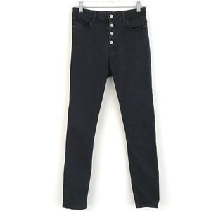 "Zara washed black high waist 11"" button fly jeans"